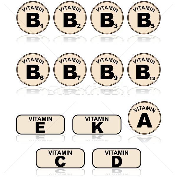Vitamines icône illustration différent Photo stock © bruno1998