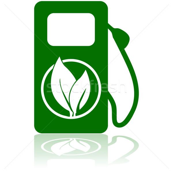 Zöld üzemanyag ikon mutat benzinkút pumpa levél Stock fotó © bruno1998