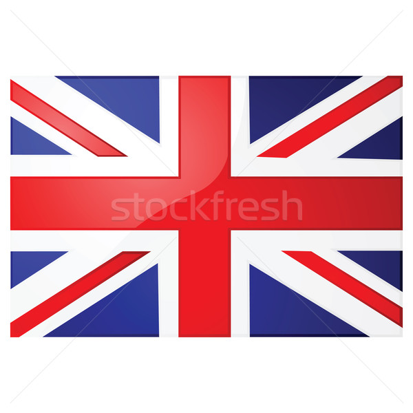 Union jack glanzend illustratie Blauw vlag Stockfoto © bruno1998