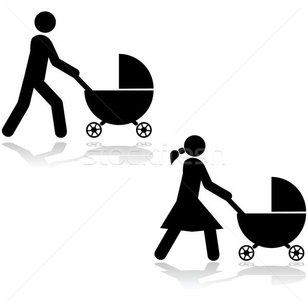 Pushing a stroller Stock photo © bruno1998