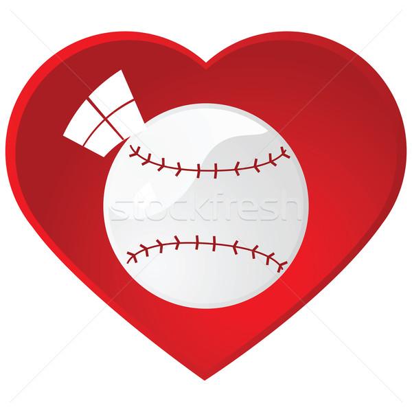Amor béisbol ilustración dentro corazón Foto stock © bruno1998