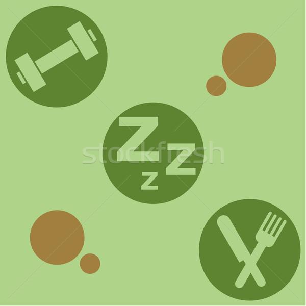 Saúde estilo de vida estilo retro ilustração ingredientes Foto stock © bruno1998