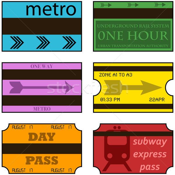 Klasszikus metró jegyek rajz illusztráció mutat Stock fotó © bruno1998