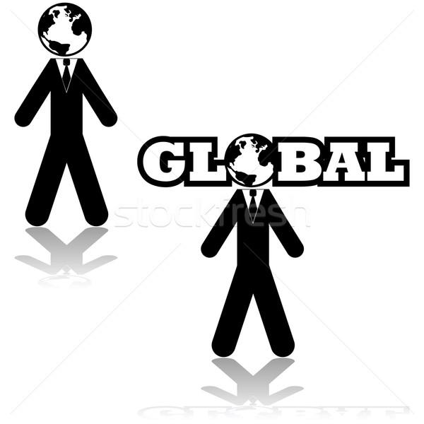 глобальный бизнесмен икона иллюстрация земле Сток-фото © bruno1998