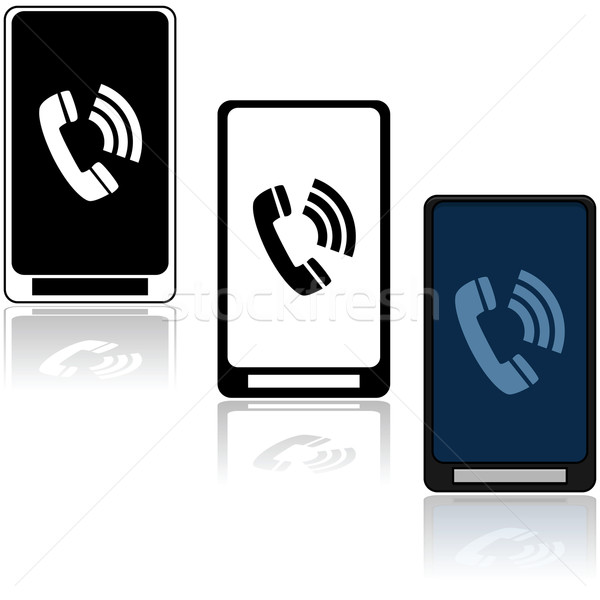 Telefon ikonok illusztráció mutat három különböző Stock fotó © bruno1998