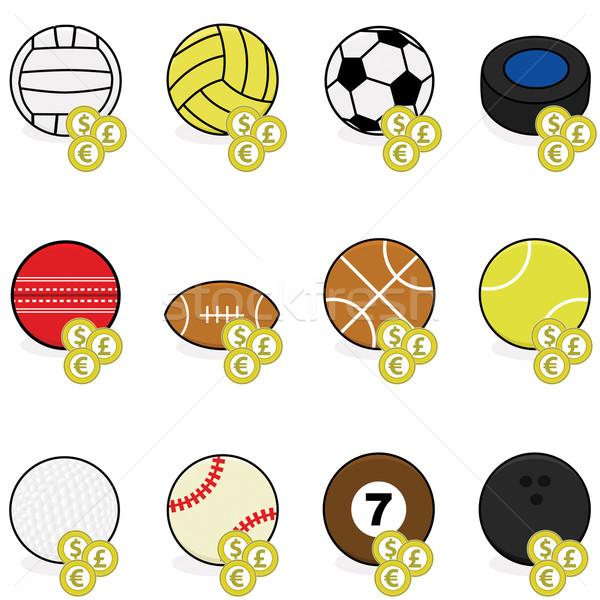 Sportok fogadás ikonok gyűjtemény szín golyók Stock fotó © bruno1998