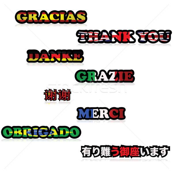 Grazie illustrazione grazie diverso lingue Foto d'archivio © bruno1998