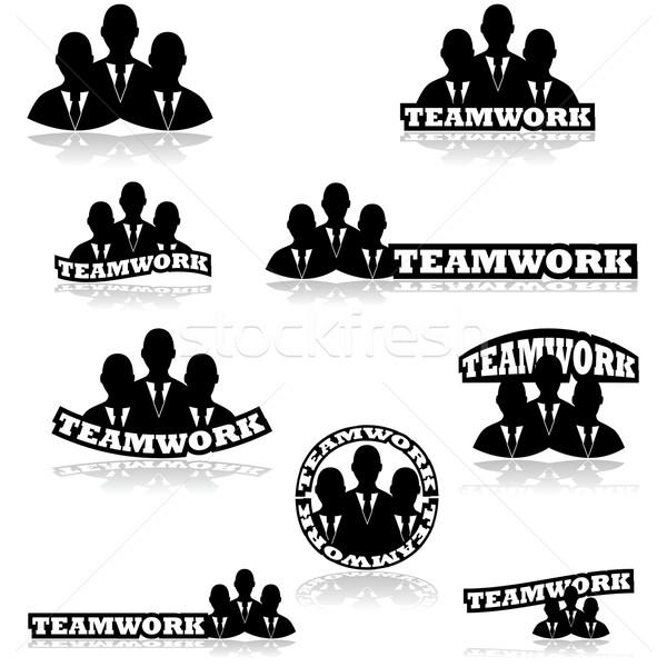 チームワーク アイコン 3  ビジネスの方々 ストックフォト © bruno1998