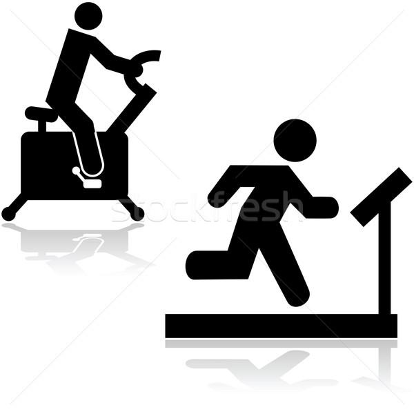 Tornaterem ikonok mutat személy fut futópad Stock fotó © bruno1998