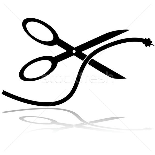 Cut шнура иллюстрация пару ножницы Сток-фото © bruno1998