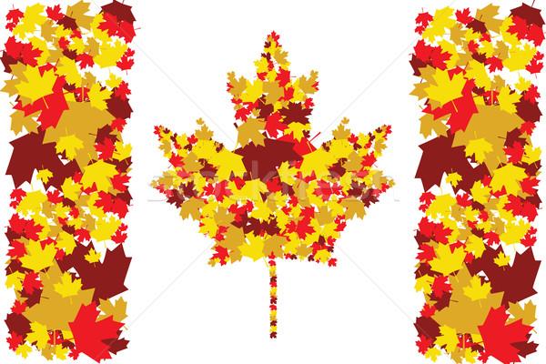 Automne Canada illustration drapeau canadien up érable Photo stock © bruno1998