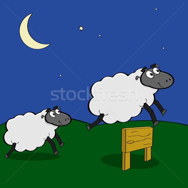 Moutons sautant clôture cartoon illustration Photo stock © bruno1998