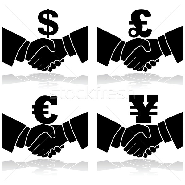 Business deal icon illustratie tonen handdruk Stockfoto © bruno1998