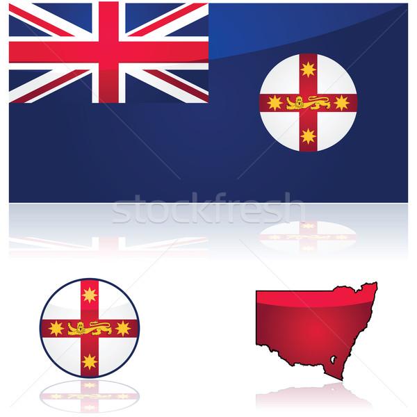 Nueva gales del sur bandera mapa ilustración Australia Foto stock © bruno1998