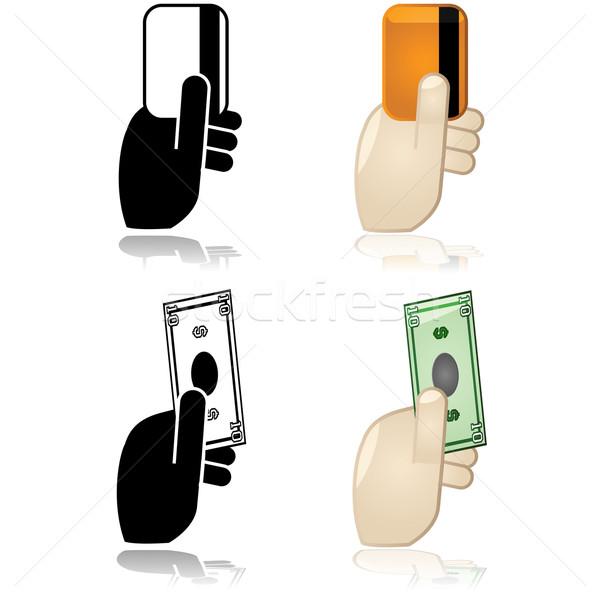 Trésorerie crédit débit paiement icônes Photo stock © bruno1998