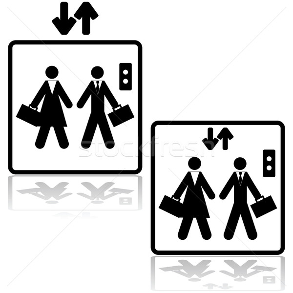Działalności windy ikona ilustracja biznesmen Zdjęcia stock © bruno1998