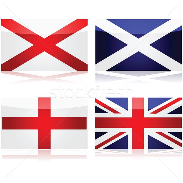 Brit zászló szett mutat zászlók használt alap Stock fotó © bruno1998