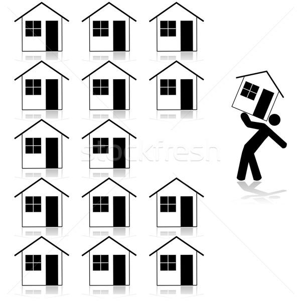 Kiválaszt ház illusztráció mutat férfi hordoz Stock fotó © bruno1998