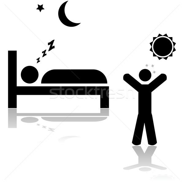 Alszik felfelé ikon illusztráció mutat egy személy Stock fotó © bruno1998