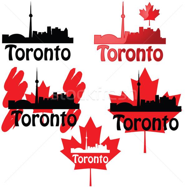 Торонто набор иконки Skyline Maple Leaf графических Сток-фото © bruno1998
