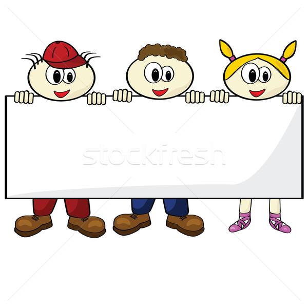 çocuklar boş kart karikatür örnek üç Stok fotoğraf © bruno1998