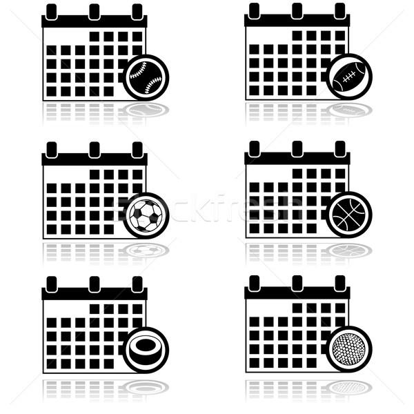 Sportok naptár ikon gyűjtemény mutat különböző golf Stock fotó © bruno1998