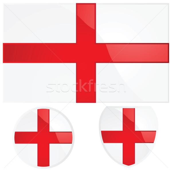 Anglia zászló embléma illusztráció angol zászló pajzs Stock fotó © bruno1998