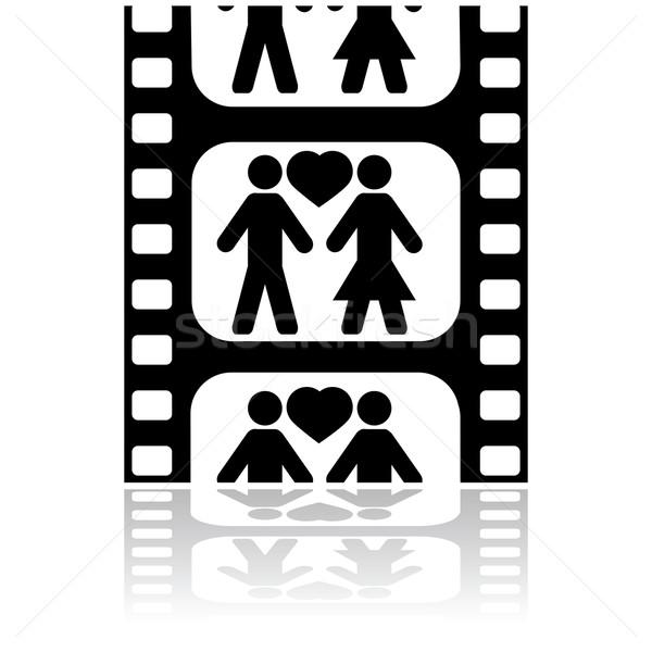 Film randevú ikon illusztráció mutat pár Stock fotó © bruno1998
