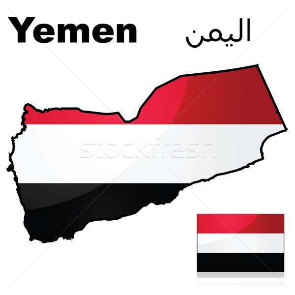 Jemen zászló térkép illusztráció mutat piros Stock fotó © bruno1998