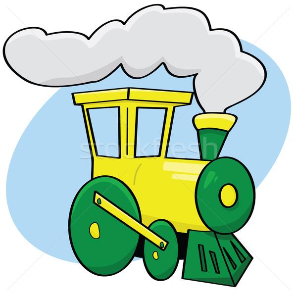 Cartoon train illustration vert jaune couleur Photo stock © bruno1998