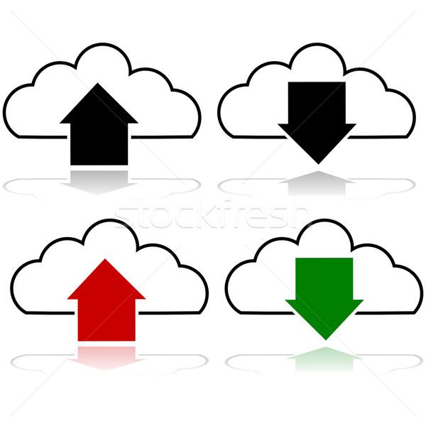 Felhő feltöltés letöltés ikon szett mutat letöltés Stock fotó © bruno1998
