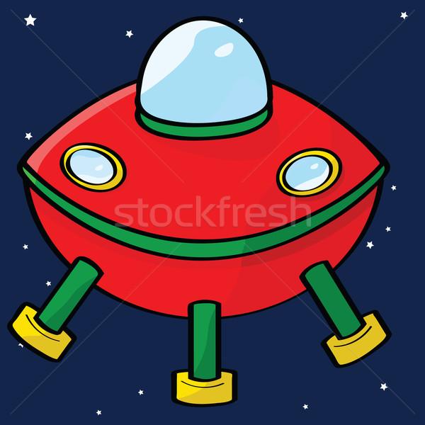 Voador pires desenho animado ilustração vermelho espaço exterior Foto stock © bruno1998