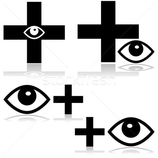 Szemorvos illusztráció mutat ikon szem kereszt Stock fotó © bruno1998