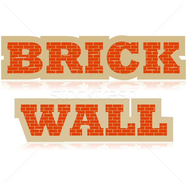 レンガの壁 実例 単語 アップ レンガ ストックフォト © bruno1998