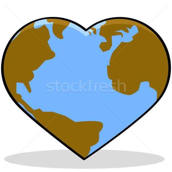 Szeretet Föld rajz illusztráció mutat Föld Stock fotó © bruno1998