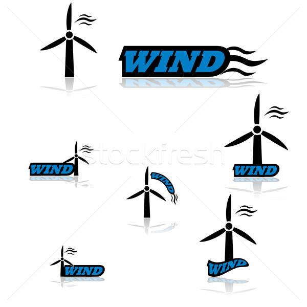 ветровой турбины иконки различный слово Сток-фото © bruno1998