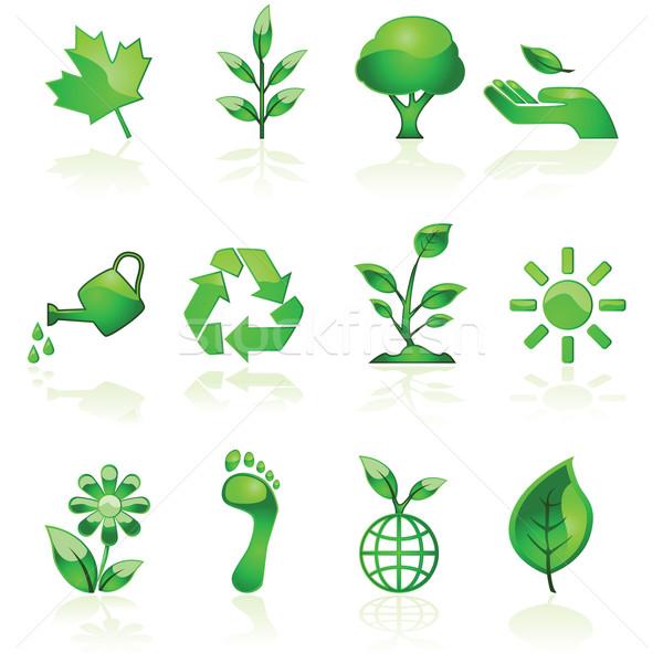 Zöld környezeti ikonok illusztráció szett fényes Stock fotó © bruno1998