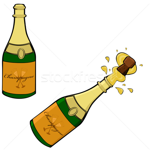 Champagne fles cartoon illustratie tonen twee Stockfoto © bruno1998