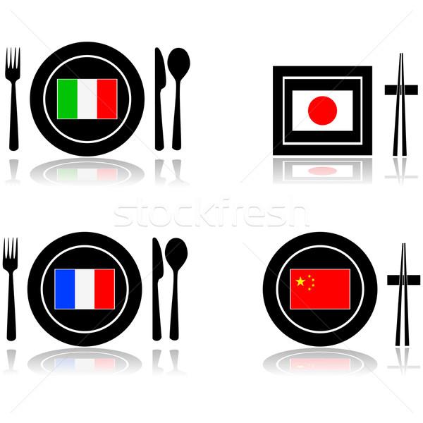 Nemzetközi konyha ikonok nemzetközi konyha éttermek olasz Stock fotó © bruno1998