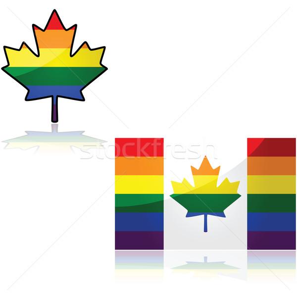 ストックフォト: 虹 · カナダの国旗 · 実例 · 色 · デザイン