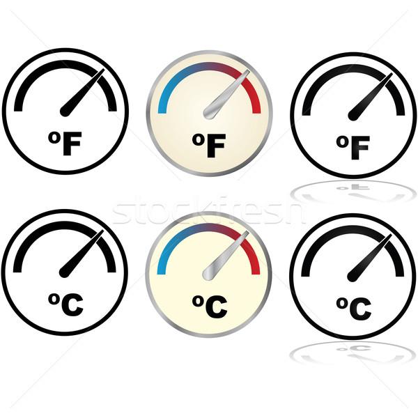 Hőmérséklet index illusztráció szett mutat ikonok Stock fotó © bruno1998