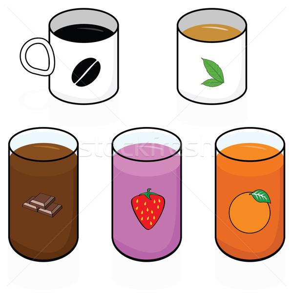 Reggeli italok rajz illusztráció mutat különböző Stock fotó © bruno1998