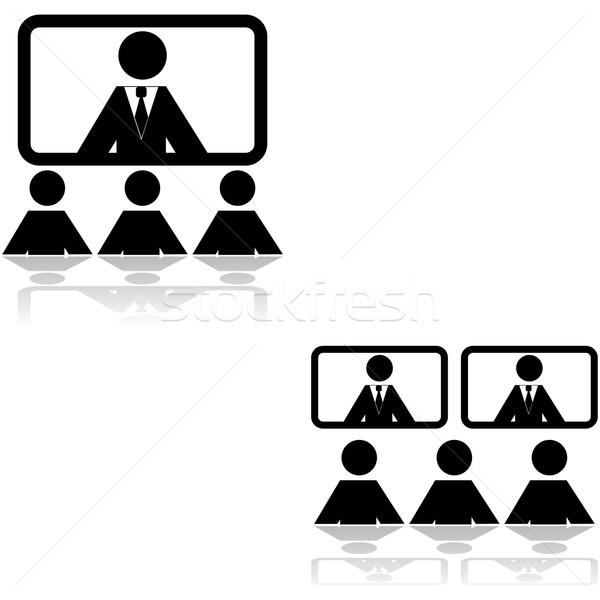 Teleconferentie iconen tonen twee verschillend Stockfoto © bruno1998