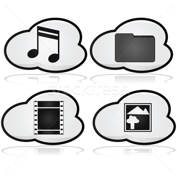 иконки облаке Элементы музыку Сток-фото © bruno1998