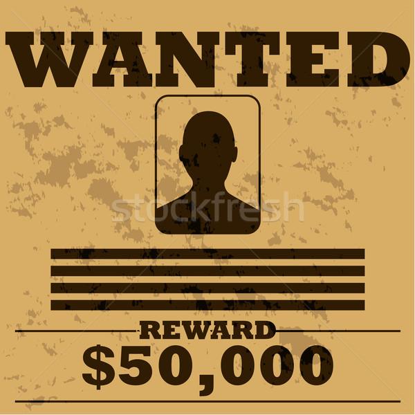 Gezocht poster illustratie sjabloon man oude Stockfoto © bruno1998