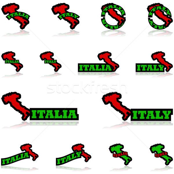 イタリア アイコン 地図 異なる ストックフォト © bruno1998