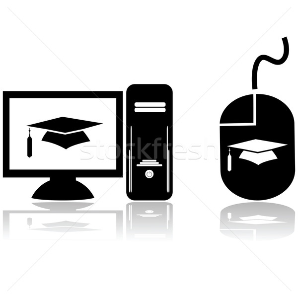 Distance apprentissage icônes ordinateur Photo stock © bruno1998