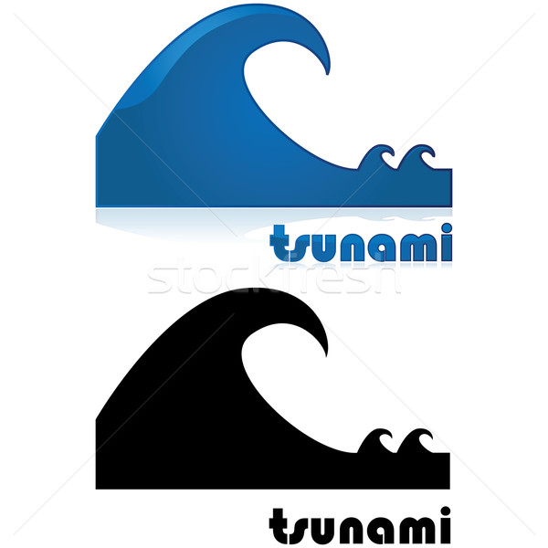 Tsunami alarm icon tonen groot golf Stockfoto © bruno1998