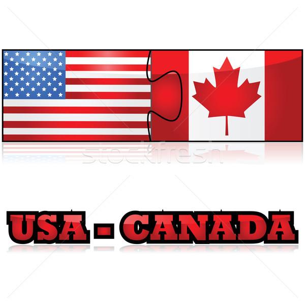 EUA Canadá ilustração bandeiras Estados Unidos Foto stock © bruno1998