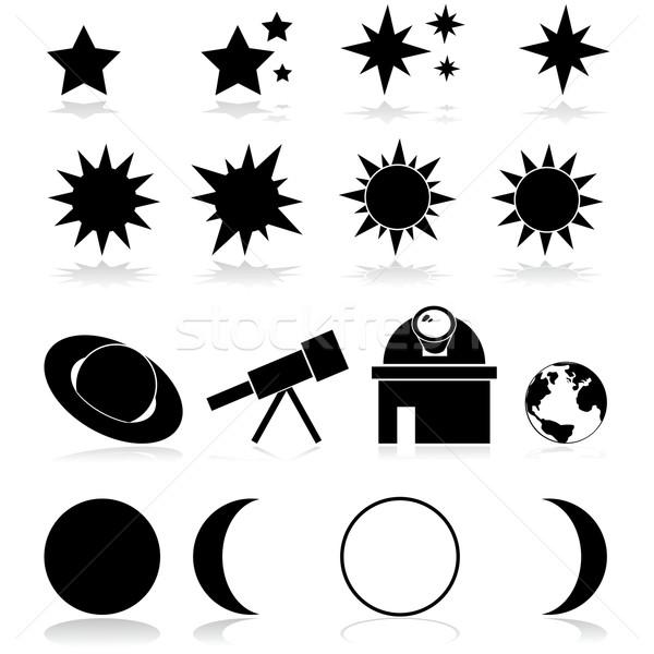 Csillagászat ikon szett mutat különböző Föld űr Stock fotó © bruno1998